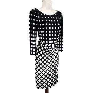 Tahari dress jersey checkerboard black & white